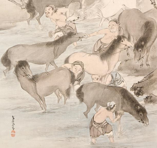 Washing Horses (Semba-zu), Matsumura Goshun (1752–1811)